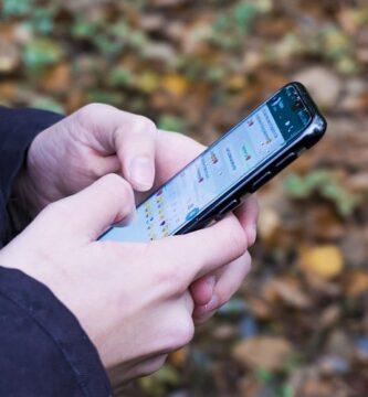 Una persona con el celular en la mano enviando un mensaje