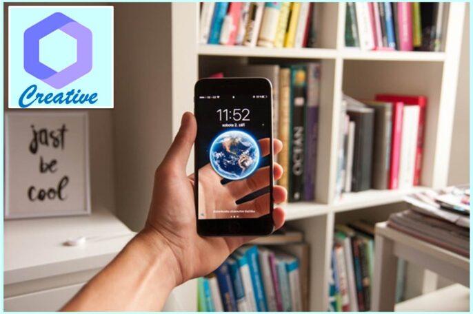 Celular con aplicación para tener fondos de pantalla personalizables.